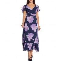 Adrianna Papell Floral Printed Chiffon Tie Waist Midi Dress 90s for Female 2OVH32632