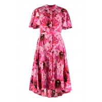 Alexander McQueen Printed crêpe shirtdress fit types Fuchsia for Girl Ships Free on clearance 18O091393