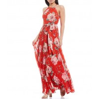 Eliza J Floral Pleated Halter Neck Sleeveless Chiffon Maxi Dress short for Girl Sale on clearance 9GPEL8086