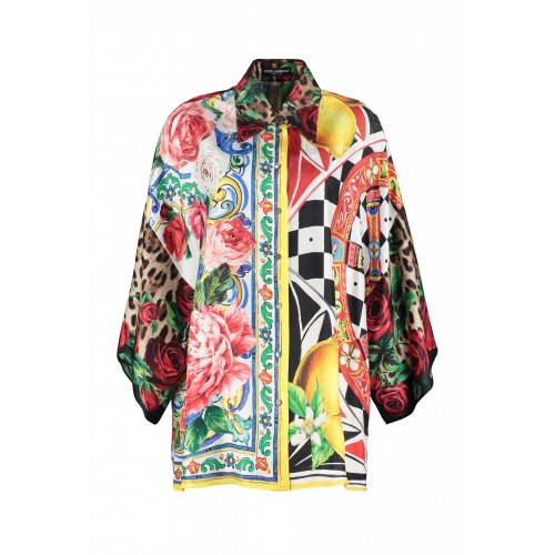 Dolce & Gabbana Printed silk shirt big and tall Multicolor for Girl KQPQP7751