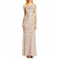 Adrianna Papell Off-The-Shoulder Crunchy Beaded Gown short for Female in new look Clearance COQIA866