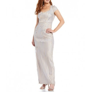Adrianna Papell Sweetheart Neck Soutache Satin Gown short for Female Fashion Clearance CS9IU3151