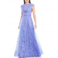 Tadashi Shoji Illusion Lace Yoke and Tulle Gown short for Women new in 0DNJF1745