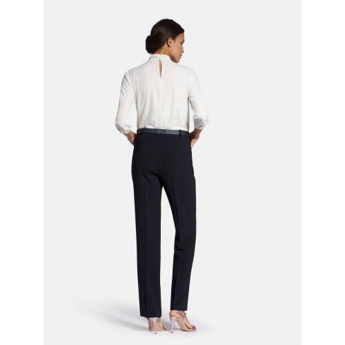Basler Trousers bottom fit types navy for Female Cut Off T10LV9260